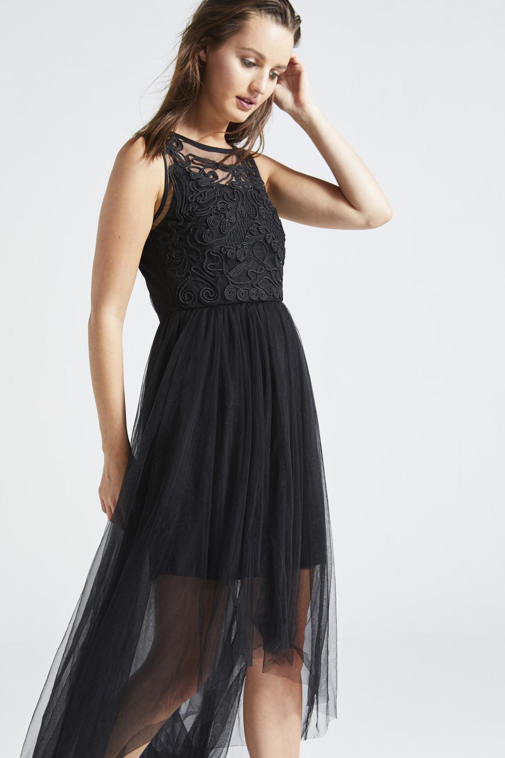 2546462b4553 Black Beaded Mesh Hi-Low Maxi Dress | Dresses | AngelEye Fashion