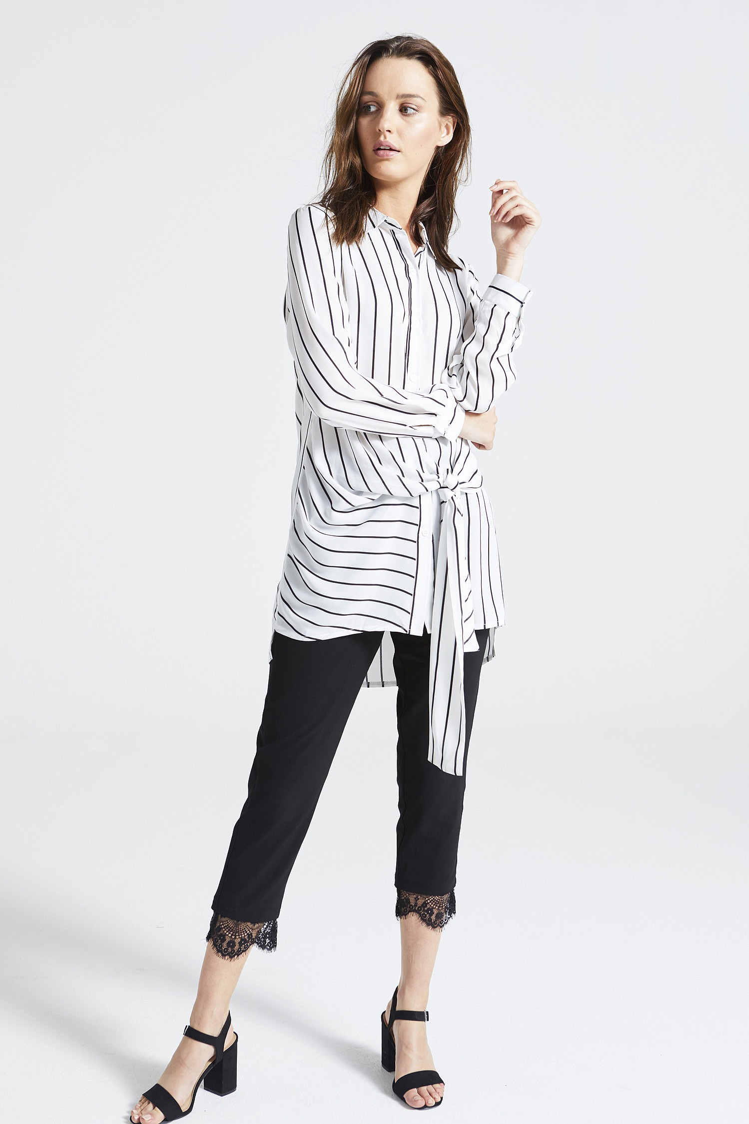 White Striped Front Tie Shirt