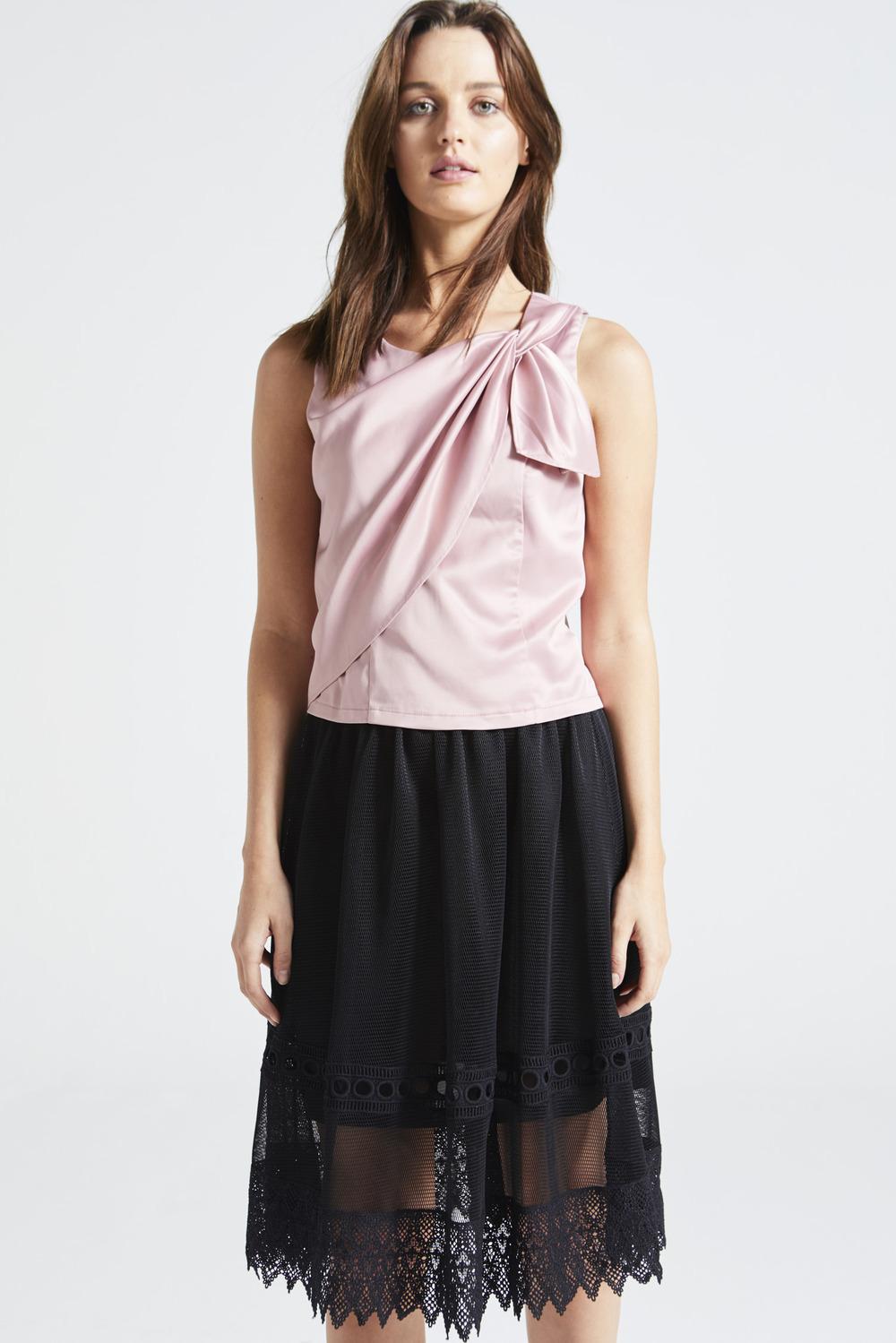 Rose Pink Wrap Silk Top