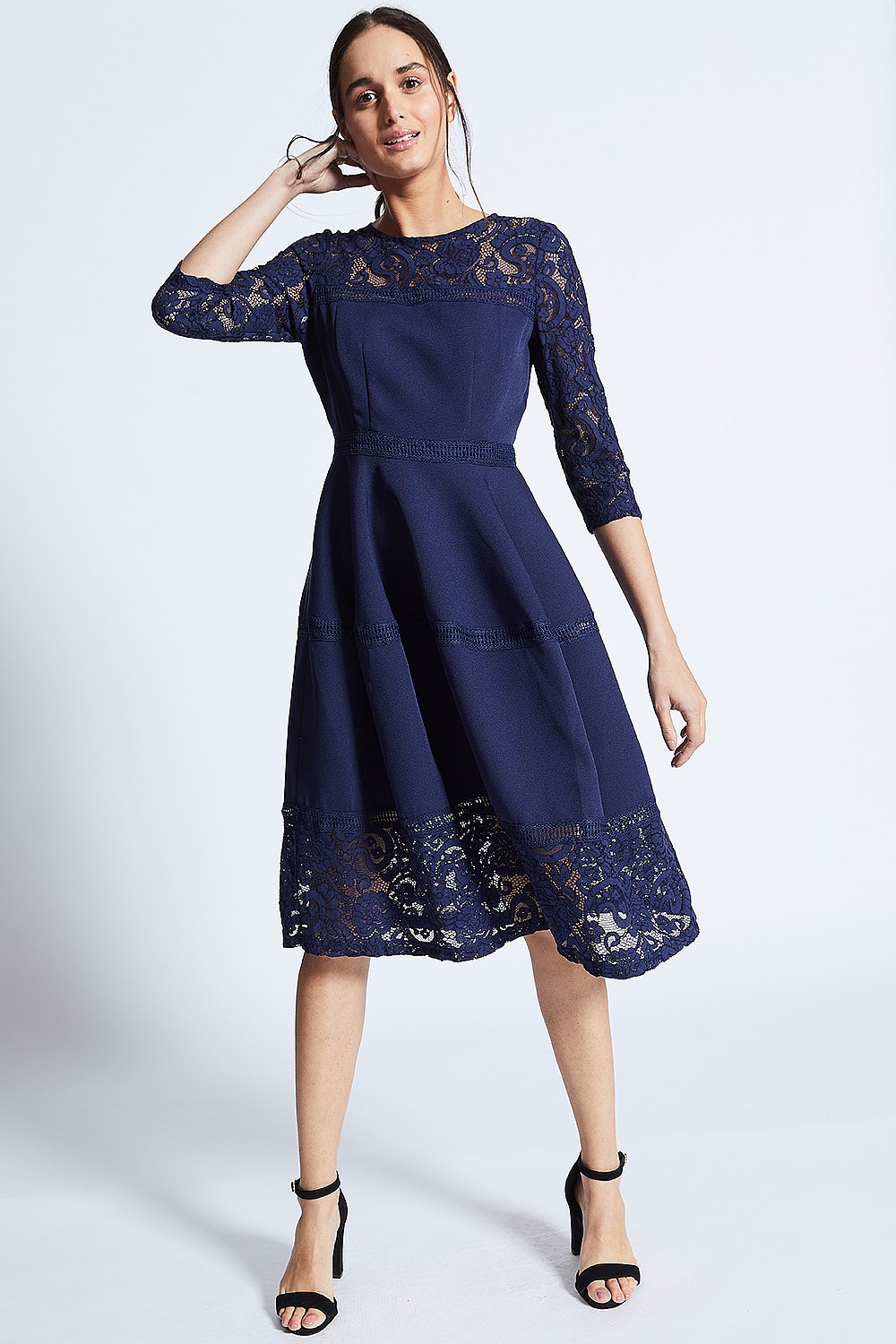 0830b2d90543 Navy Midi Dress with Lace Cut Sleeves