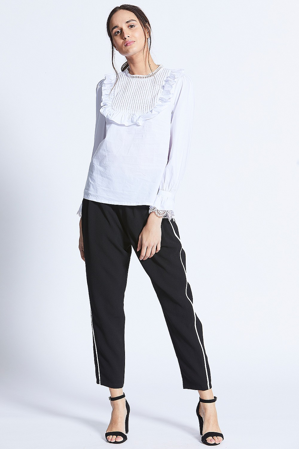 a4ab0628bfe White Ruffle Front Blouse