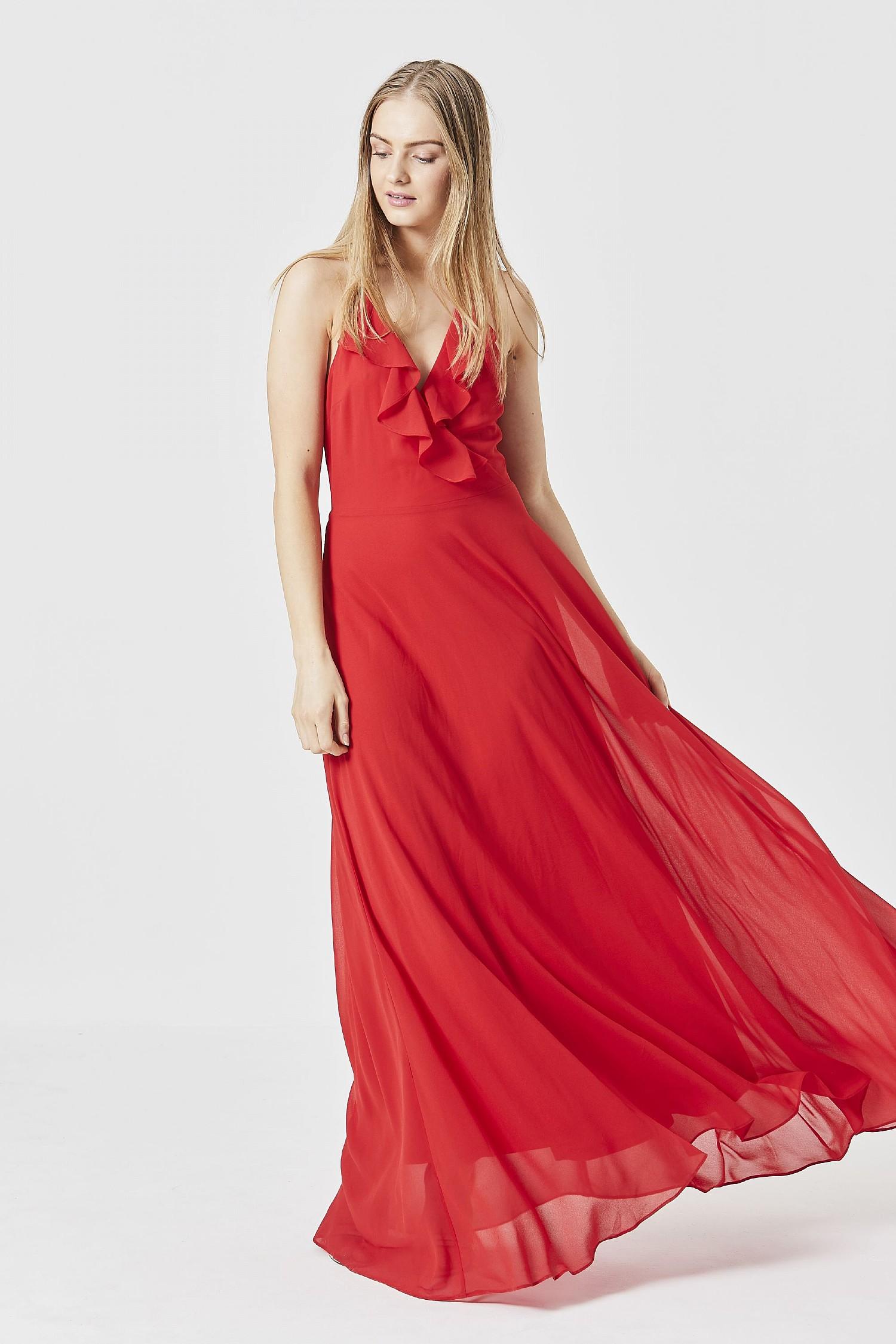 ad6da8b6e2d Red Cami Ruffled Maxi Dress