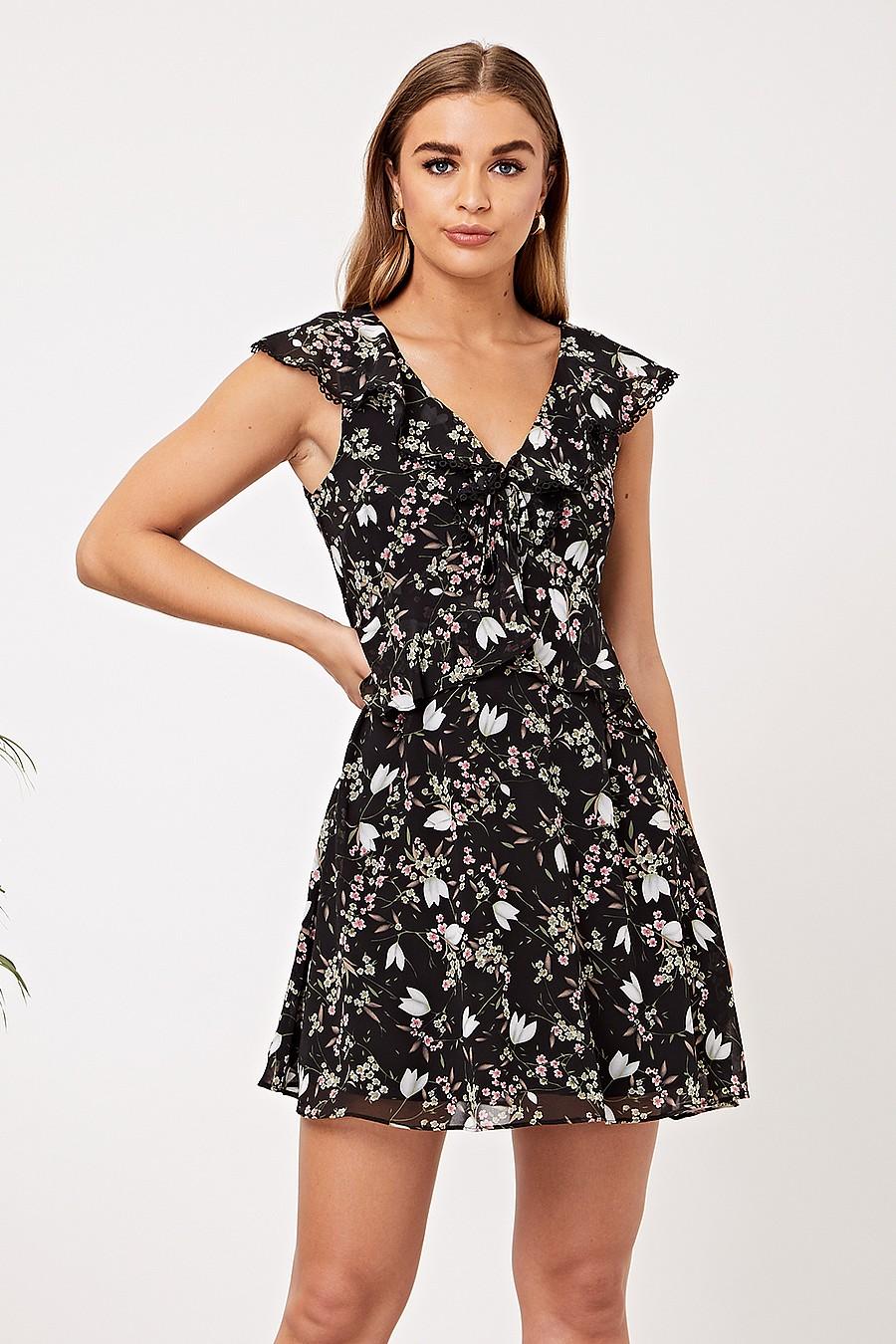 Black Ruffled Floral Mini Dress