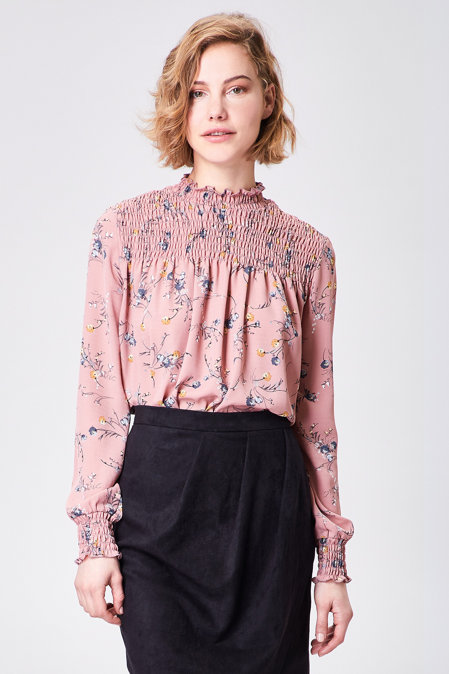 Pink Floral High Neck Blouse