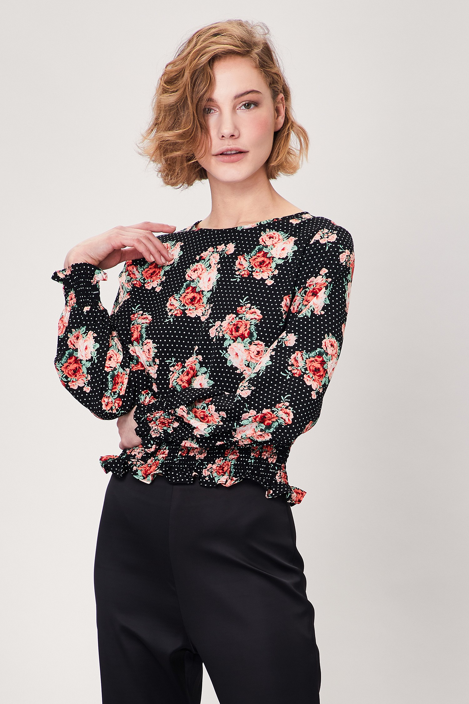 Black Floral Cropped Shirred Long Sleeve Top