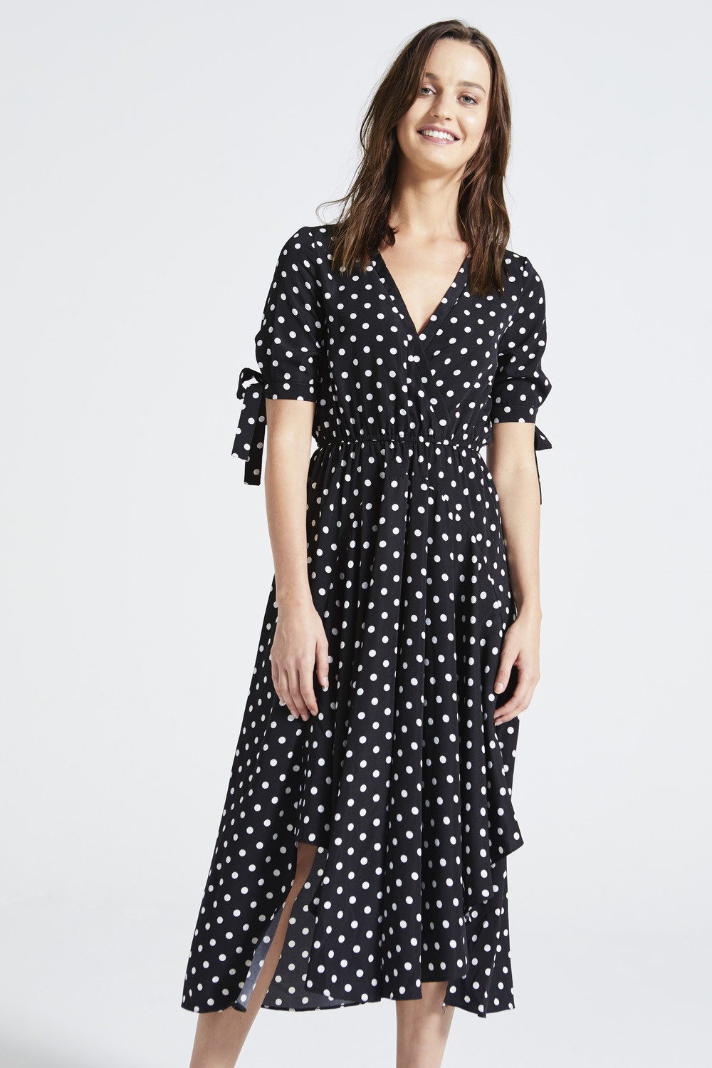 440de853ca18 Black Polka Dot Side Split Midi Dress