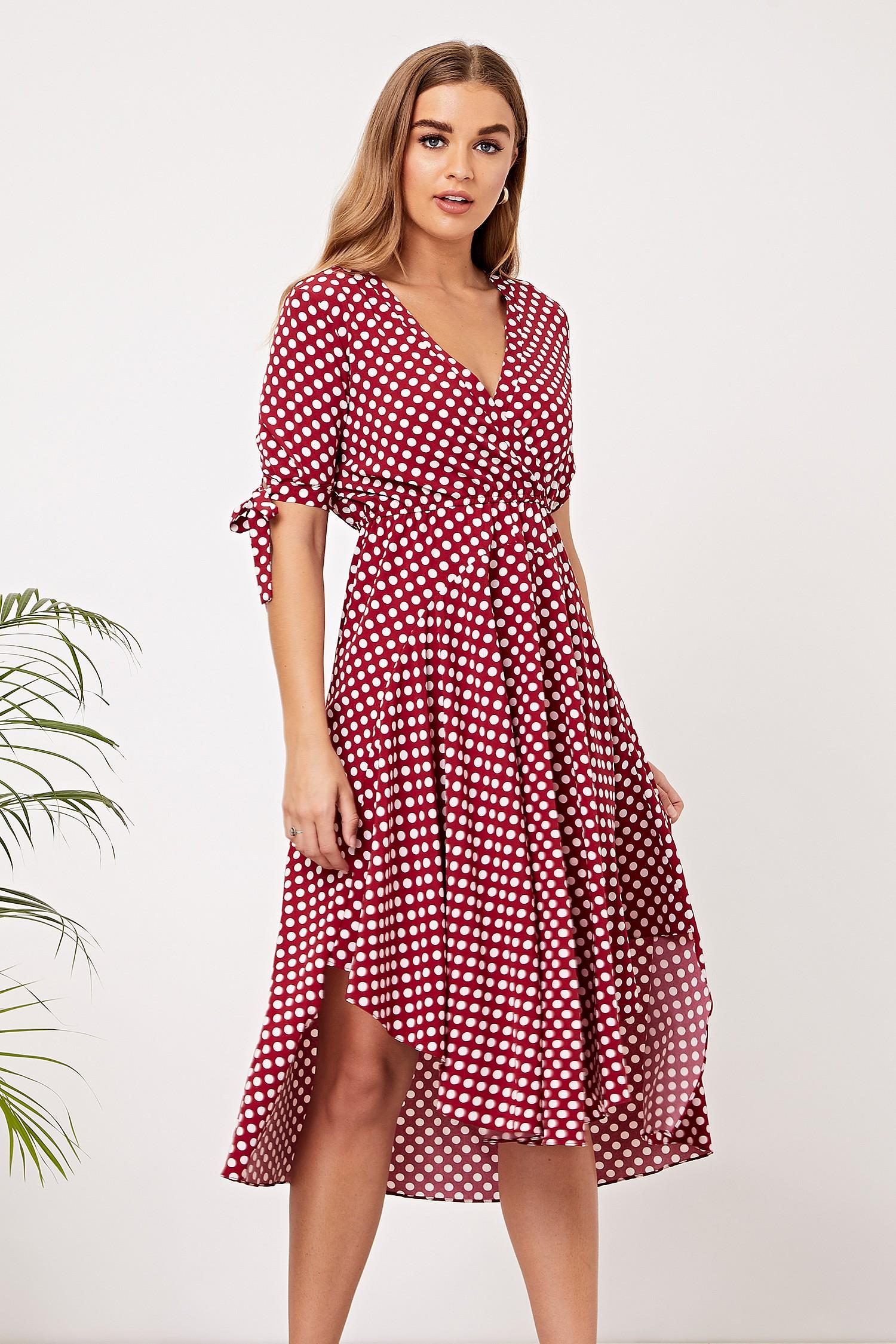 68ac84d710 ANGELEYE Burgundy Polka Dot Midi Dress