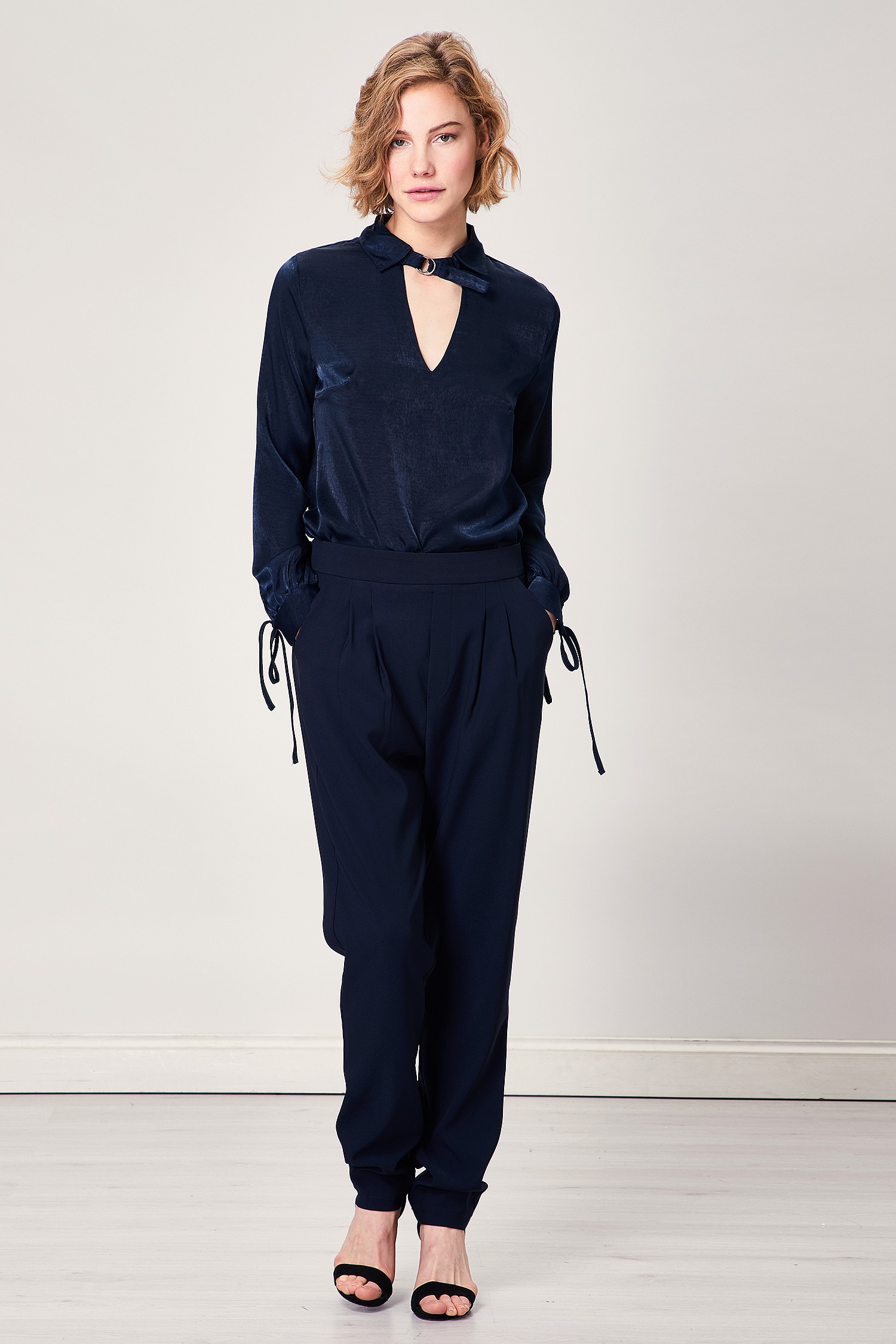 Navy Blue Tapered Smart Trousers