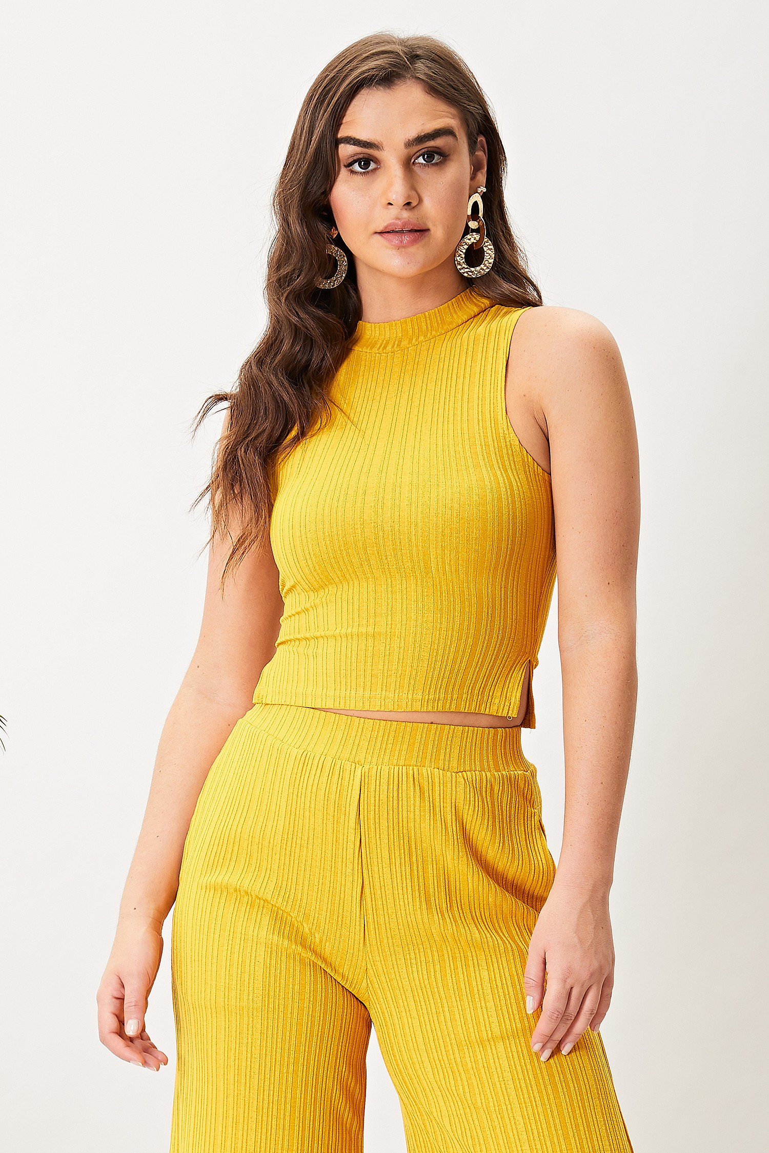 Yellow High Neck Top