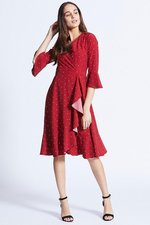 5b3cf9cb230d5 Burgundy Short Sleeve Lace Midi Skater Dress