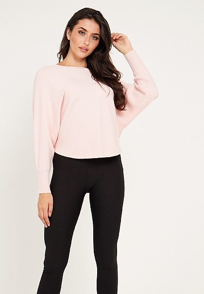 Long Sleeves Knit Jumper in Baby Pink