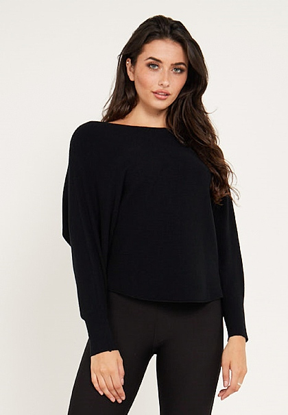 Long Sleeves Knit Jumper in Black