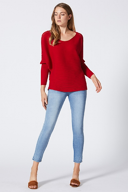 Red Soft Knitwear Jumper Tight Sleeves