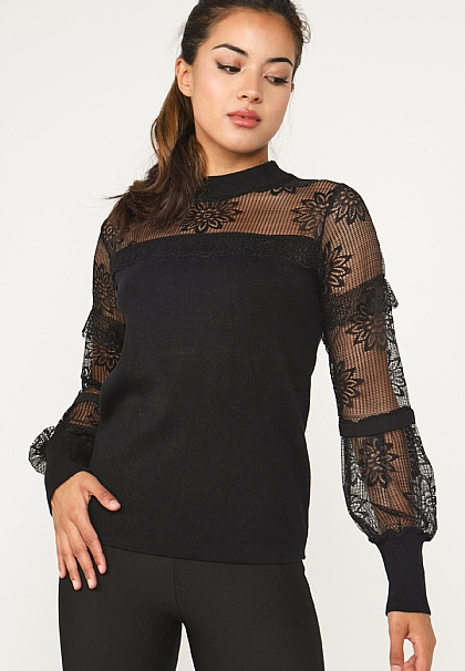 Black Lace Long Sleeved Knitted Top