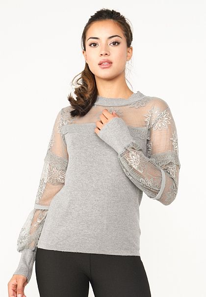 Light Grey Lace Long Sleeved Knitted Top