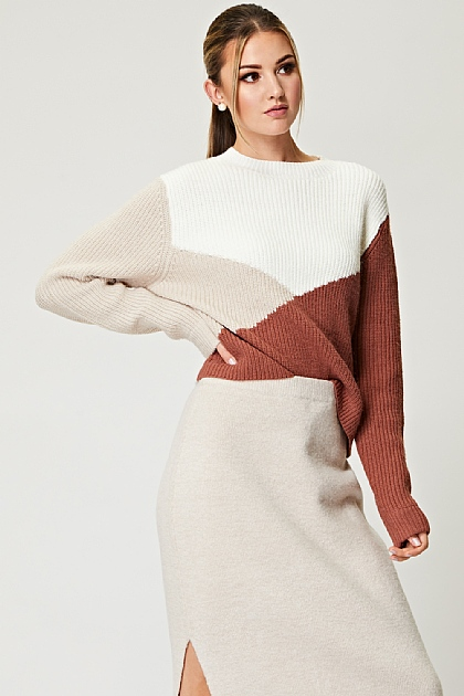 Knitted Color Block Jumper