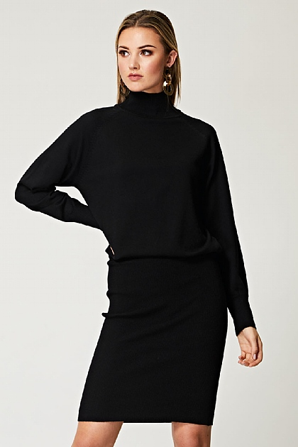 Fitted High Neck Knit Dress in Black