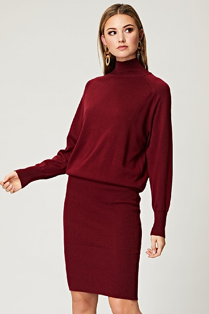 Fitted High Neck Knit Dress in Burgundy