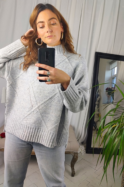 Brushed Oversized High Neck Jumper in Grey