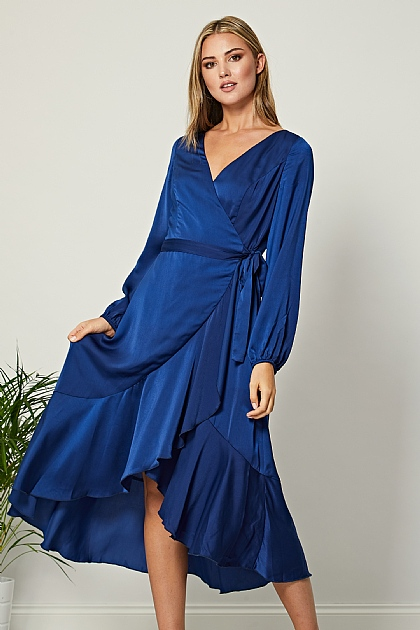 Navy Blue Satin Wrap Long Sleeve Midi Dress