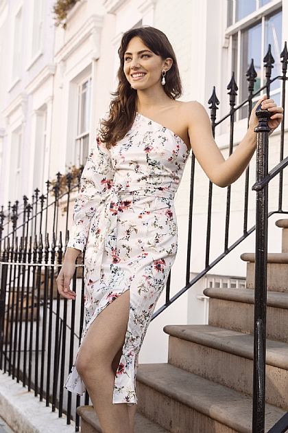 Floral One Shoulder Midi Dress in White