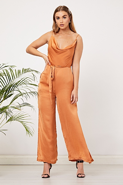 Rust Orange Cowl Neck Orange Cami Jumpsuit