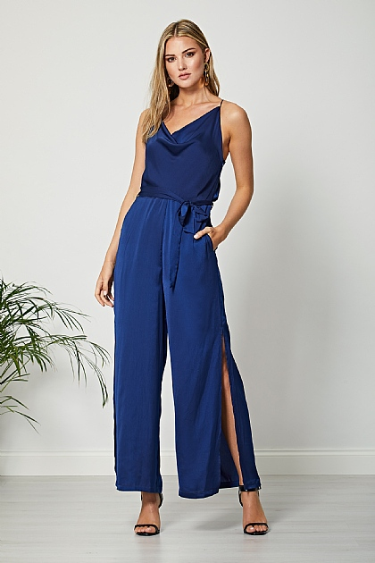 Navy Blue Cowl Neck Cami Jumpsuit