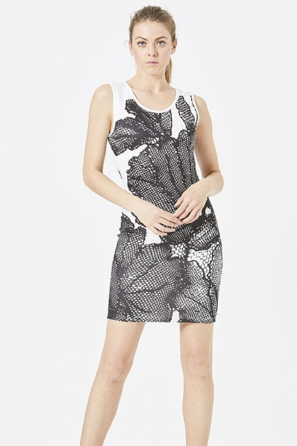 Black and White Floral Print Scuba Dress