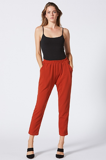 Burnt Orange Elastic Waist Trousers