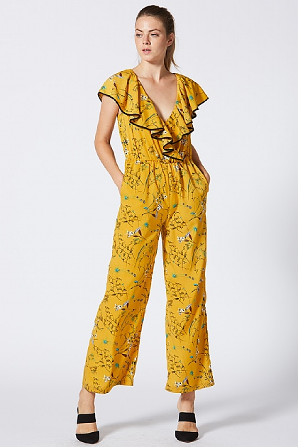 e280759b76c ... Yellow Ruffled Floral Culotte Jumpsuit