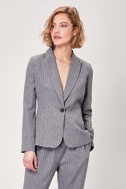 Grey Pinstripe Single Button Long Sleeve Blazer