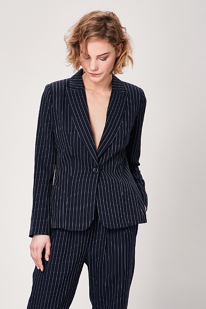 Navy Pinstripe Single Button Long Sleeve Suit Blazer