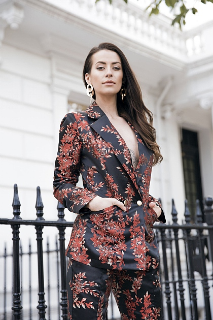 Black Red Jacquard Floral Suit Blazer