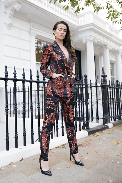 Black Red Jacquard Floral Suit Tailored Trousers