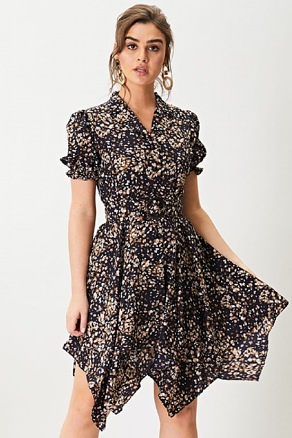 Floral Printed Self Belt Shirt Dress in Black