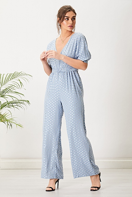 Light Blue Polka Dot Metallic Elasticated Jumpsuit