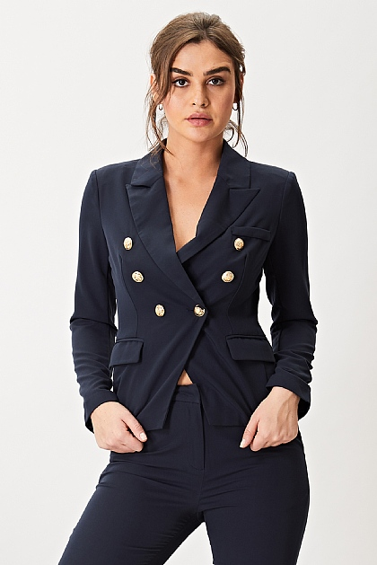 Navy Suit Set Lined Blazer