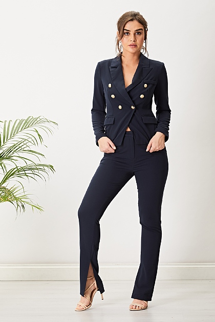 Navy Suit Set Lined Trousers