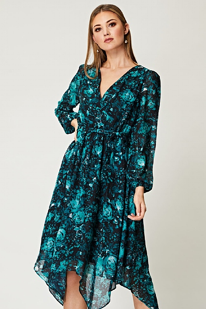 Floral Chiffon Wrap Dress in Teal
