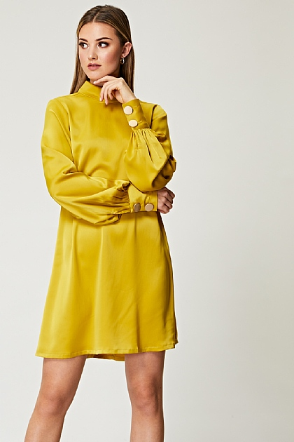 Volume Sleeve with Oversized Golden Button Mustard Shift Dress