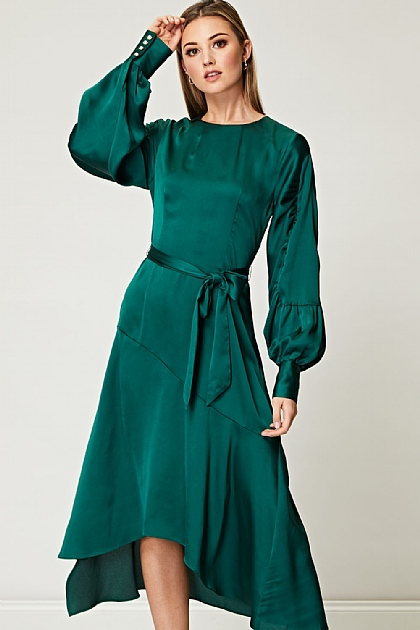 Emerald Green Asymmetrical Satin Dress