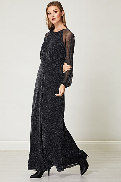 Sparkly Silver Lurex Flickering Chiffon Maxi Dress in Black