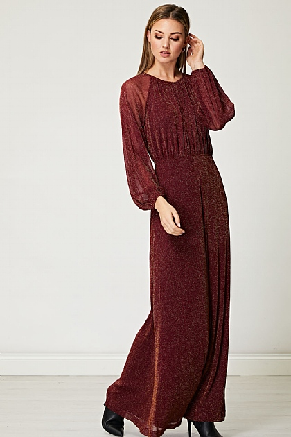 Sparkly Gold Lurex Flickering Chiffon Maxi Dress in Burgundy