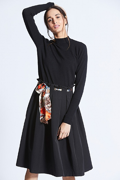 Black Midi Skirt with Scarf Print Belt