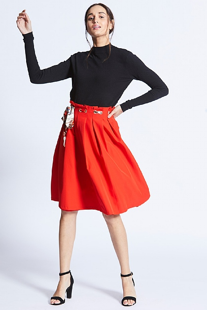 Red Midi Skirt with Scarf Print Belt