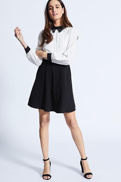 Black and White Shirt Dress with Collar