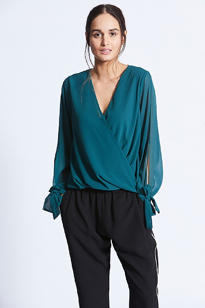 Green Wrap Front Tie-Up Sleeve Blouse