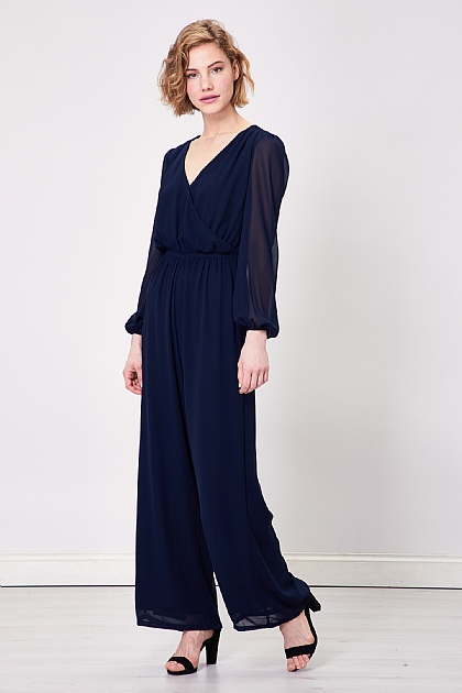 Navy Wrap Long Sleeved Jumpsuit