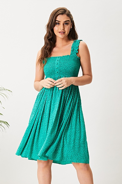 Green Floral Shirred Cami Midi Dress