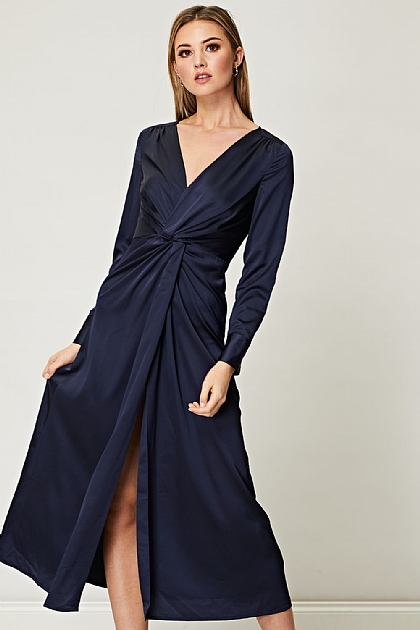 Twisted Knot Satin Maxi Dress in Navy